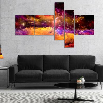 Designart Universe Fractal Burst Multipanel Abstract Canvas Art Print - 5 Panels
