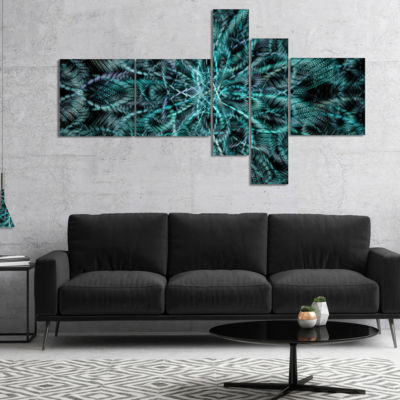 Designart Unusual Starry Fractal Metal Grill Multipanel Abstract Canvas Wall Art - 5 Panels