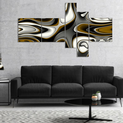 Designart Fantastic Fractal Abstract Pattern Multipanel Large Abstract Canvas Artwork - 5 Panels