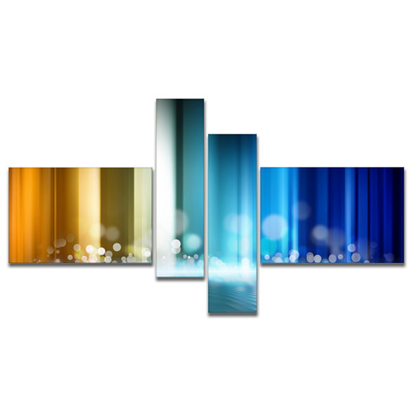 Designart Upright Glowing Lines Multipanel Abstract Canvas Art Print - 4 Panels