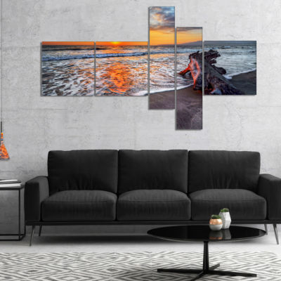 Designart Fantastic Sandy Shore At Sunset Multipanel Seashore Canvas Art Print - 5 Panels