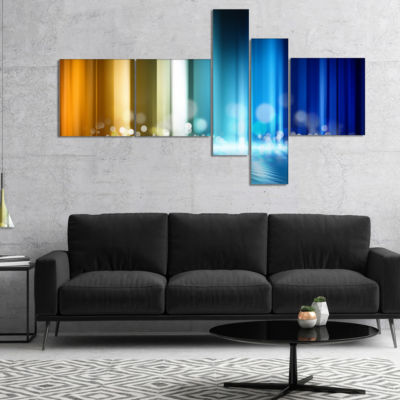 Designart Upright Glowing Lines Multipanel Abstract Canvas Art Print - 5 Panels