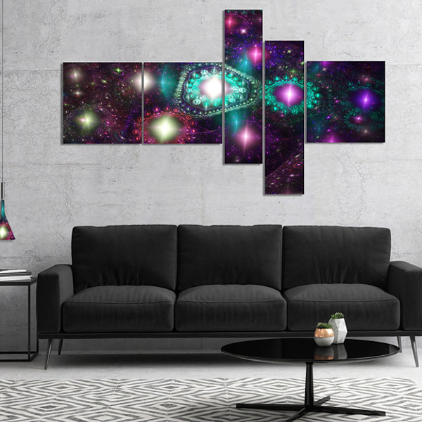 Designart Far Bright Colorful Space Galaxy Multipanel Abstract Canvas Art Print - 5 Panels