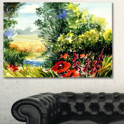 Designart Watercolor Landscape With Flowers Landscape Canvas Print - 3 Panels