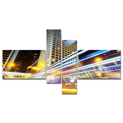 Designart Urban City Traffic Trails Multipanel Cityscape Digital Art Canvas Print - 4 Panels