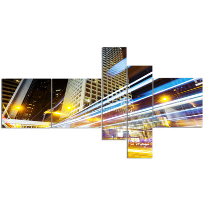 Designart Urban City Traffic Trails Multipanel Cityscape Digital Art Canvas Print - 5 Panels