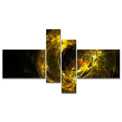 Designart Far Spherical Galaxy Golden Multipanel Abstract Canvas Art Print - 4 Panels
