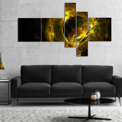 Designart Far Spherical Galaxy Golden Multipanel Abstract Canvas Art Print - 5 Panels