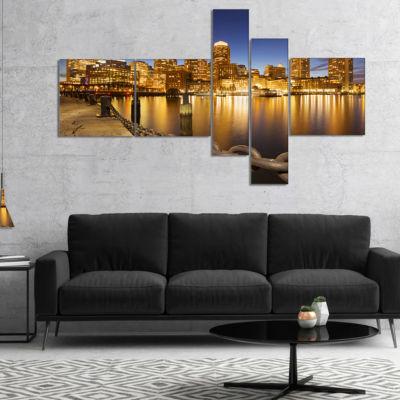 Designart Usa Skyline From Fan Pier At Night Multipanel Cityscape Canvas Art Print - 5 Panels