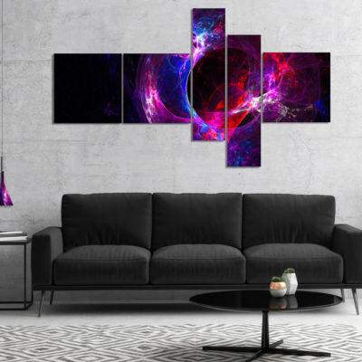 Designart Far Spherical Galaxy Purple Multipanel Abstract Canvas Art Print - 5 Panels