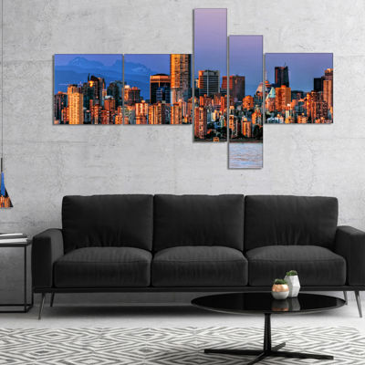 Designart Vancouver Downtown Skyscrapers Multipanel Extra Large Canvas Art Print - 5 Panels