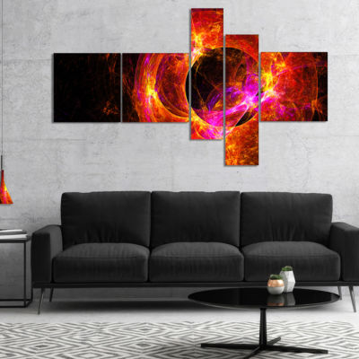 Designart Far Spherical Galaxy Red Multipanel Abstract Canvas Art Print - 5 Panels