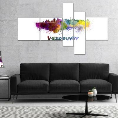 Designart Vancouver Skyline Multipanel Cityscape Canvas Art Print - 5 Panels