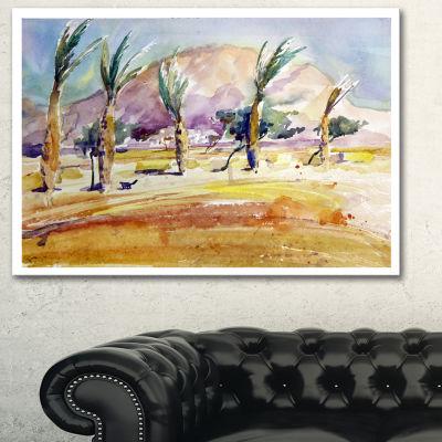 Designart Watercolor Sea And Palm Landscape Art Print Canvas - 3 Panels