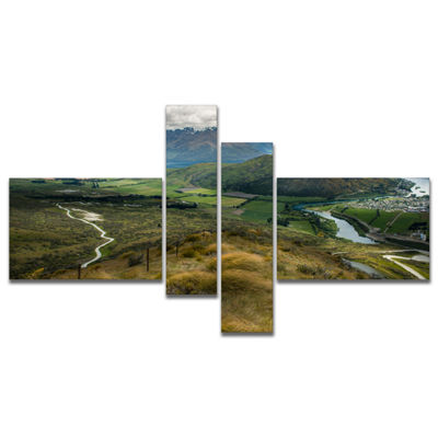 Designart Fields And Hills In New Zealand Multipanel Landscape Photography Canvas Print - 4 Panels