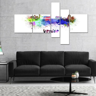 Designart Venice Skyline Multipanel Cityscape Canvas Art Print - 5 Panels