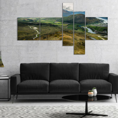 Designart Fields And Hills In New Zealand Multipanel Landscape Photography Canvas Print - 5 Panels