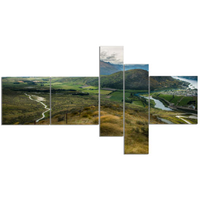 Design Art Fields And Hills In New Zealand Multipanel Landscape Photography Canvas Print - 5 Panels