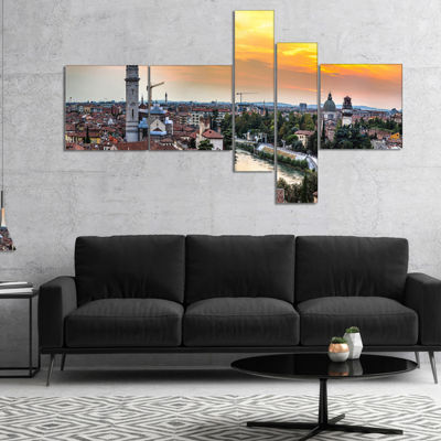 Designart Verona At Sunset In Italy Multipanel Cityscape Canvas Art Print - 5 Panels