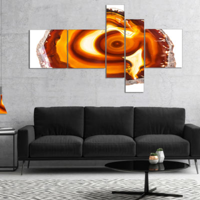 Designart Vibrant Agate Geode Slice Multipanel Abstract Canvas Artwork - 5 Panels