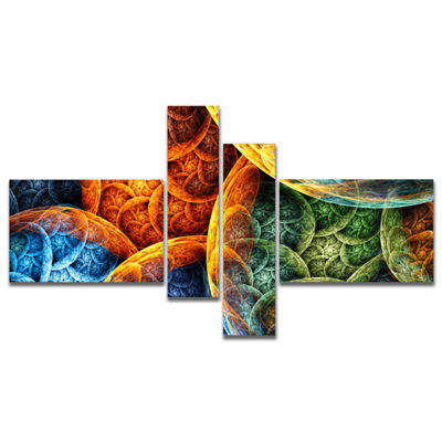 Designart Vibrant Colorful Clouds Multipanel Abstract Canvas Art Print - 4 Panels