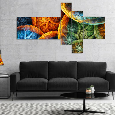 Designart Vibrant Colorful Clouds Multipanel Abstract Canvas Art Print - 5 Panels