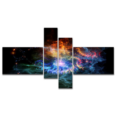 Designart Flame Lights Of Network Multipanel Abstract Canvas Art Print - 4 Panels