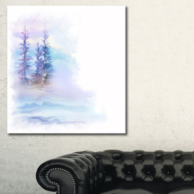 Designart Watercolor Trees Landscape Art Print Canvas - 3 Panels