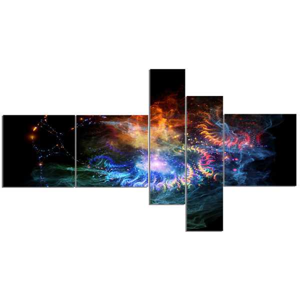 Designart Flame Lights Of Network Multipanel Abstract Canvas Art Print - 5 Panels