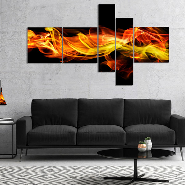 Designart Vibrant Yellow Red Waves Multipanel Abstract Canvas Art Print - 5 Panels
