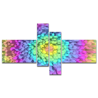 Designart View Of Colorful Geometric Shapes Multipanel Abstract Art On Canvas - 4 Panels