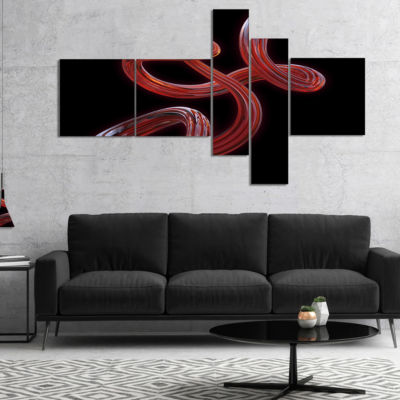 Designart Flexible Caramel Line On Black Multipanel Abstract Canvas Art Print - 5 Panels