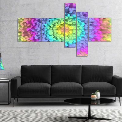 Designart View Of Colorful Geometric Shapes Multipanel Abstract Art On Canvas - 5 Panels