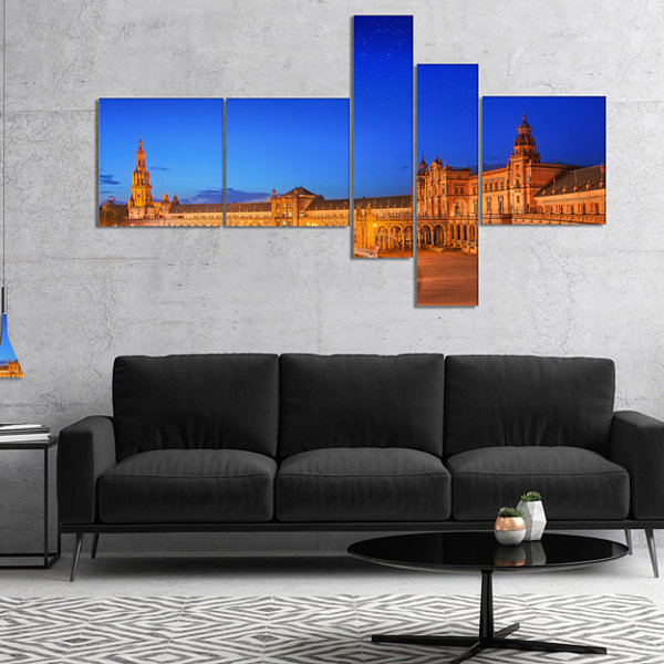 Designart View Of Spain Square At Sunset Multipanel Cityscape Canvas Art Print - 5 Panels