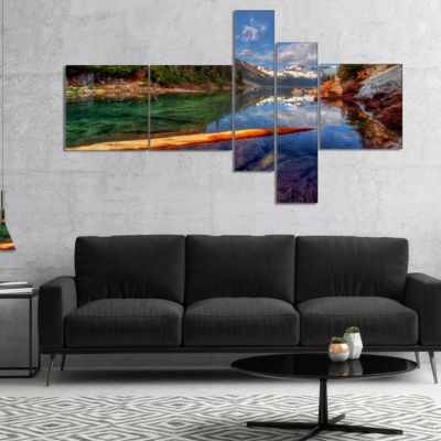 Designart Floating Lake In Mountain Lake Multipanel Large Landscape Canvas Art Print - 4 Panels