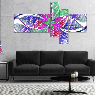 Designart Flower Like Fractal Stained Glass Multipanel Abstract Wall Art Canvas - 5 Panels