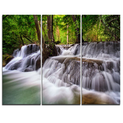 Designart Waterfall Huai Mae Kamin Landscape Art Print Canvas - 3 Panels