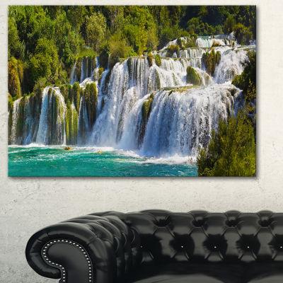 Designart Waterfall Krka Panorama Landscape Photography Canvas Art Print