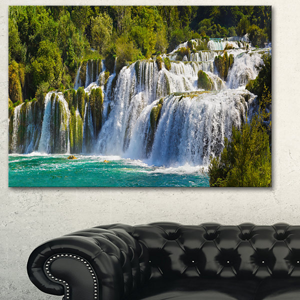 Designart Waterfall Krka Panorama Landscape Photography Canvas Art Print - 3 Panels