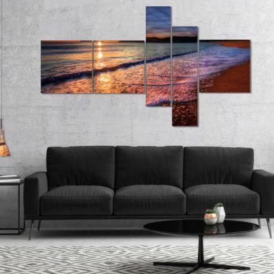 Designart Foaming Waves At Beautiful Sunset Multipanel Seashore Canvas Art Print - 5 Panels