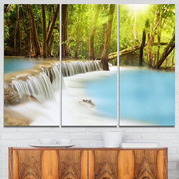Designart Waterfall Of Huai Mae Kamin Landscape Art Print Canvas - 3 Panels