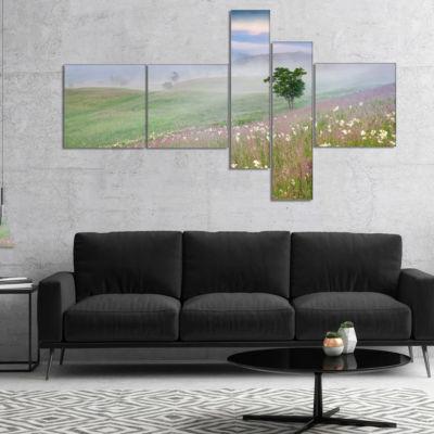 Designart Foggy Summer Morning In Mountains Multipanel Landscape Canvas Art Print - 5 Panels