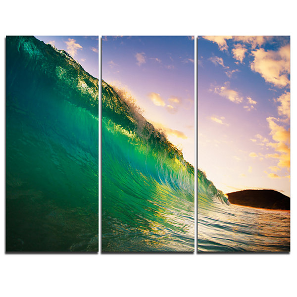 Designart Waves Kissing Clouds Seascape Canvas ArtPrint - 3 Panels