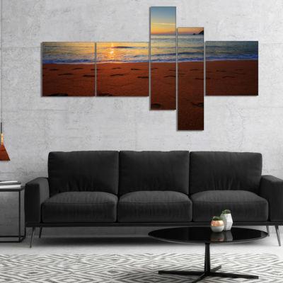 Designart Foot Printed Sandy Ocean Beach Multipanel Seashore Canvas Art Print - 5 Panels