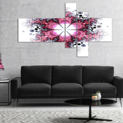 Designart Violet Fractal Flower Pattern MultipanelAbstract Wall Art Canvas - 5 Panels
