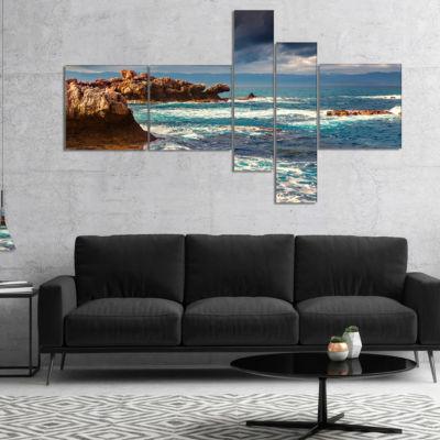 Design Art Volcanic Beach Stormy Weather MultipanelSeashore Canvas Art Print - 4 Panels