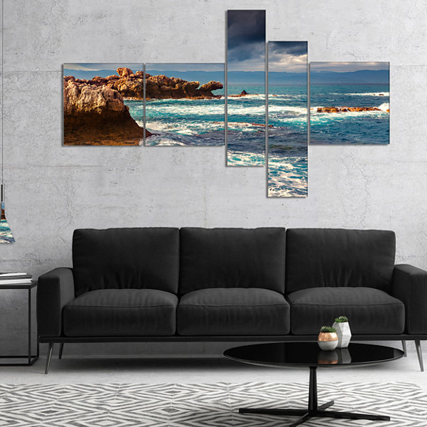 Designart Volcanic Beach Stormy Weather MultipanelSeashore Canvas Art Print - 5 Panels