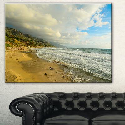 Designart Waves Meet Sand Landscape Photography Canvas Art Print