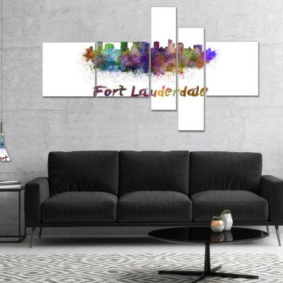 Designart Fort Lauderdale Skyline Multipanel Cityscape Canvas Artwork Print - 5 Panels