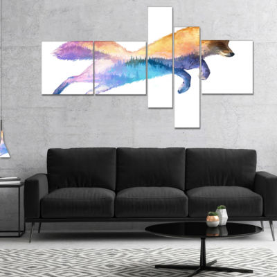 Designart Fox Double Exposure Illustration Multipanel Large Animal Canvas Art Print - 4 Panels